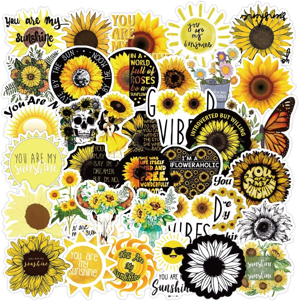 Sunflower Stickers100 PCS- Cute, Vinyl Waterproof, Aesthetic, Trendy Sunflower Stickers for Teens, Girls, Perfect for Laptop, Bumper, Water Bottles, Computer, Phone, Hard hat, Car Stickers and Decals