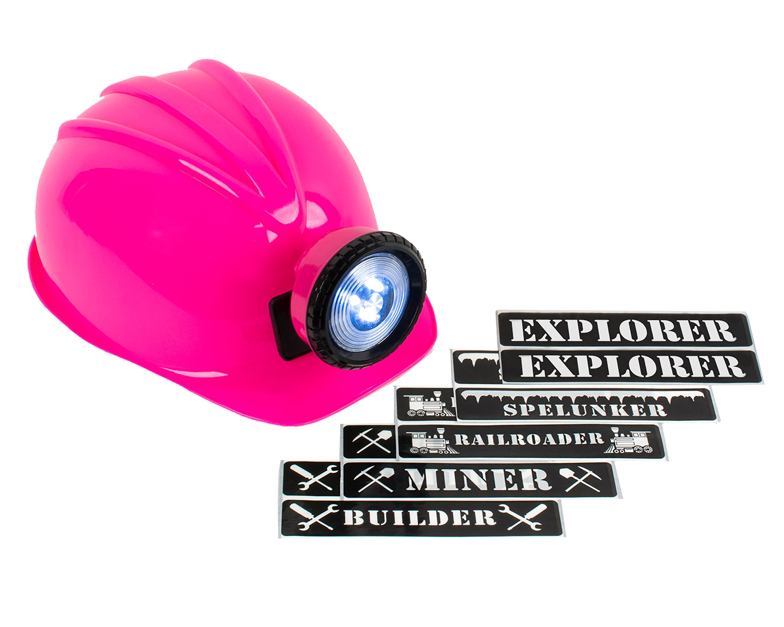 Light-up Hard Hat Including Miner, Railroader, Builder and Spelunker Helmet Labels (Pink) by Squire Boone Village (Image #1)