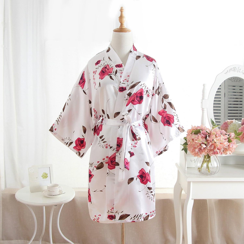 Wanglele Albornoz De Seda Kimono Camisón Corto De Encaje De Flores Impreso Batas Kimono Satén Bata,Blanca,F: Amazon.es: Hogar