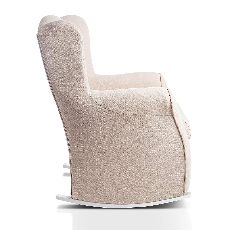 Sillon orejero balancin mecedora. CARLA (Sillon lactancia)Sillón tapizado antimanchas acualine color Beige. Mecedora para dormitorio, salon o ...