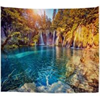 A.Monamour Turquoise Water Waterfall Lake Stones Mountains Trees National Park Nature Scenery Landscape View Print…