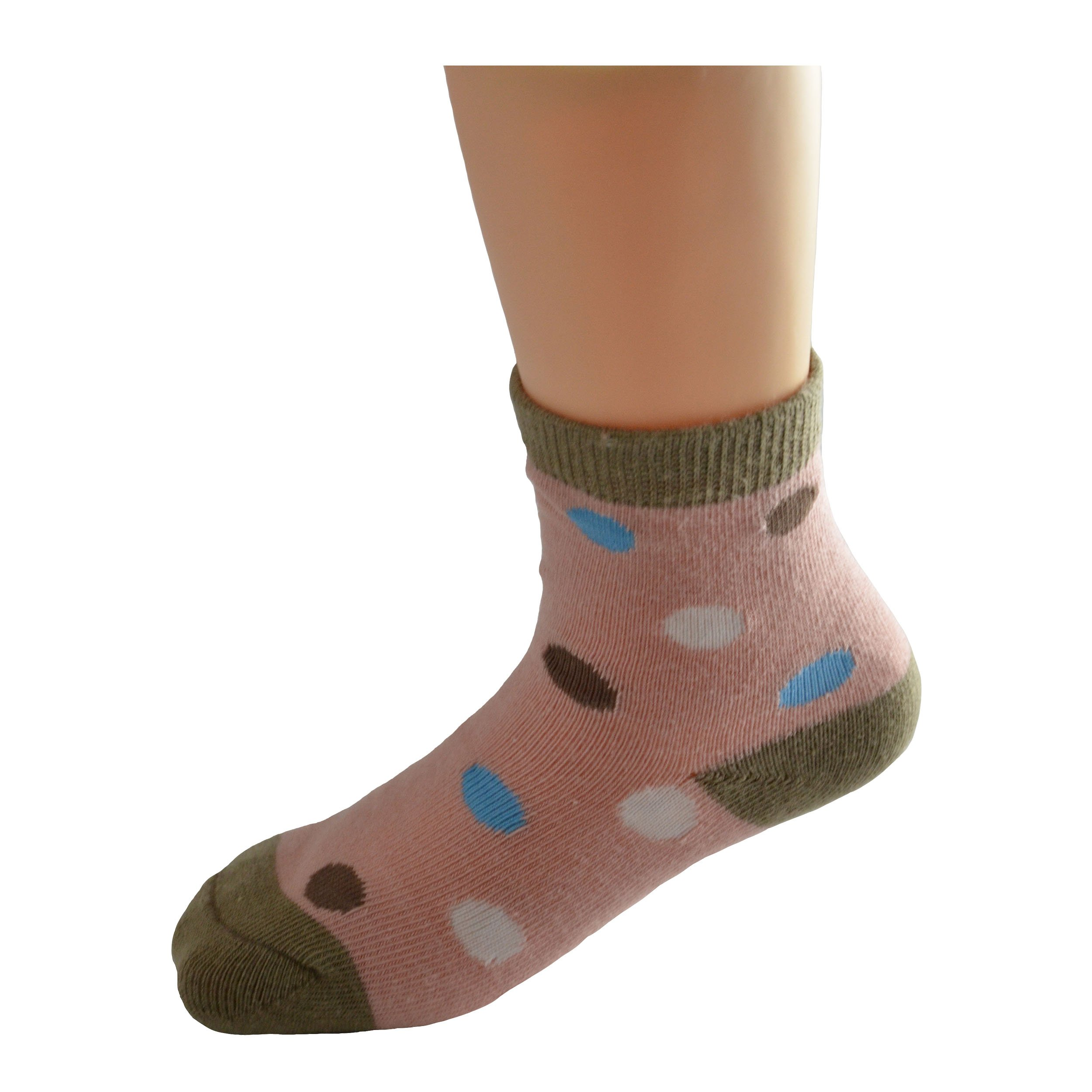 Lomon Girls Polka Dots and Stripes Crew Socks 5 Pairs
