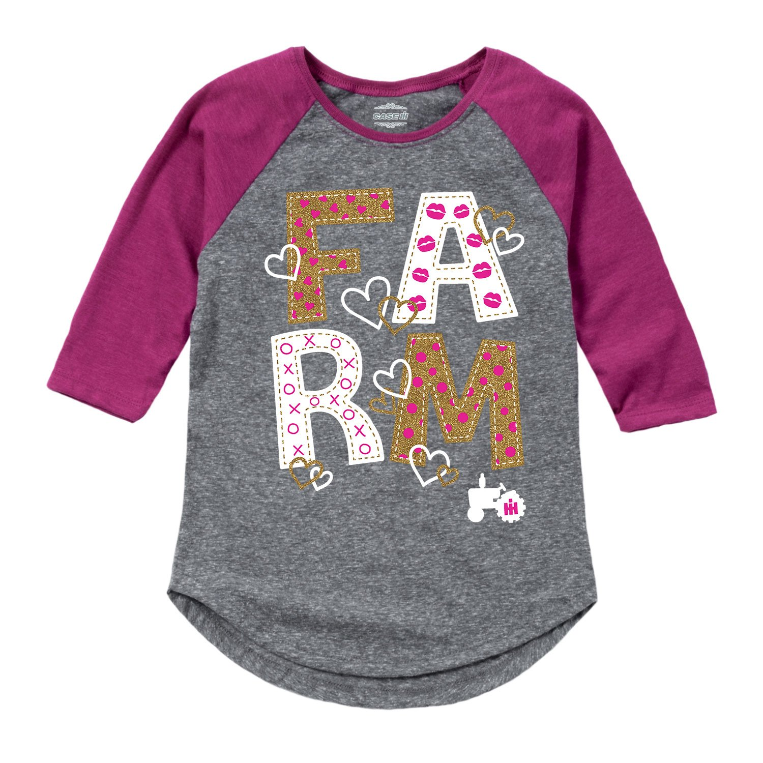 Country Casuals Farm Gold Glitter - Toddler Girl Shirt Tail Raglan Air Waves