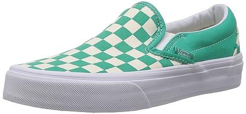 829f2b69885f9a Vans Classic Slip On (Checkerboard) Aqua Green White Shoe XG8DEU ...