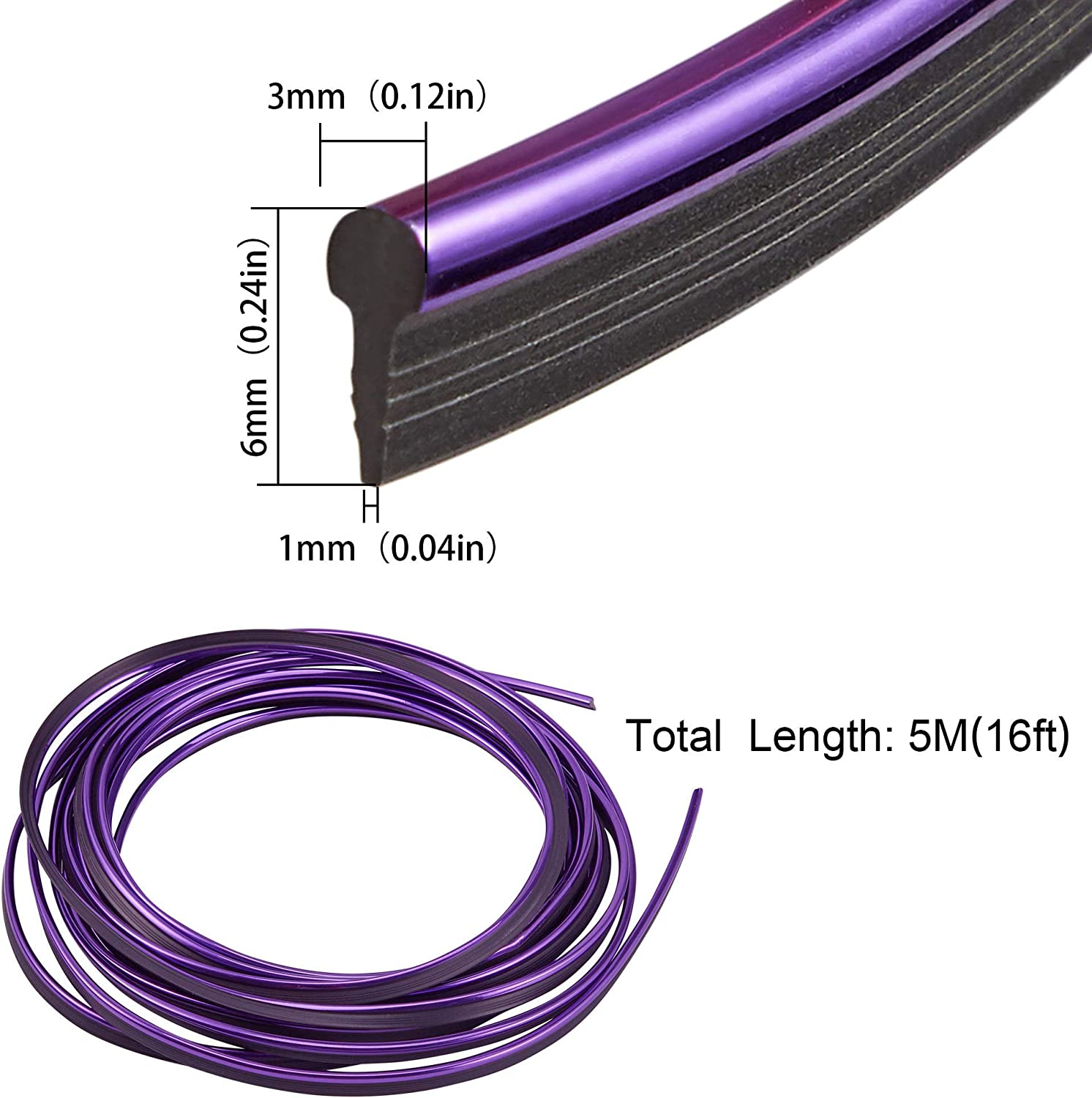 New 5M Purple Universal Car Styling Moulding Decorative Filler Strip Interior