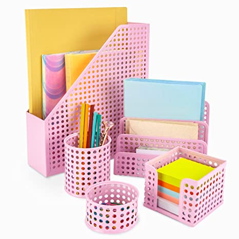 Pink Desk Organizer Office Desk Set: 5 Desktop Accessories for Women. Includes File/