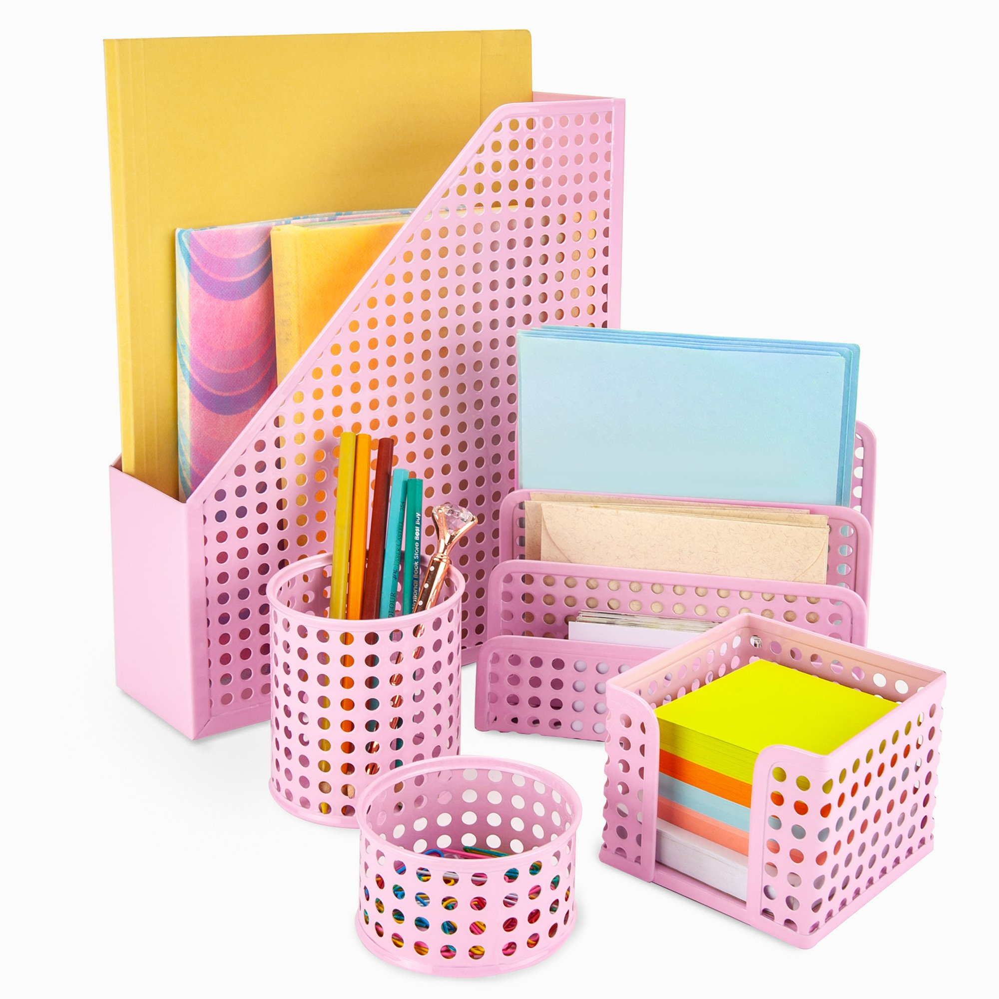 Pink Desk Organizer Office Desk Set: 5 Desktop Accessories for Women. Includes File/Paper Organizer, Mail Holder, Pen Cup, Note Holder, Clip Cup. Cute Decor for Storage Supplies Organizers