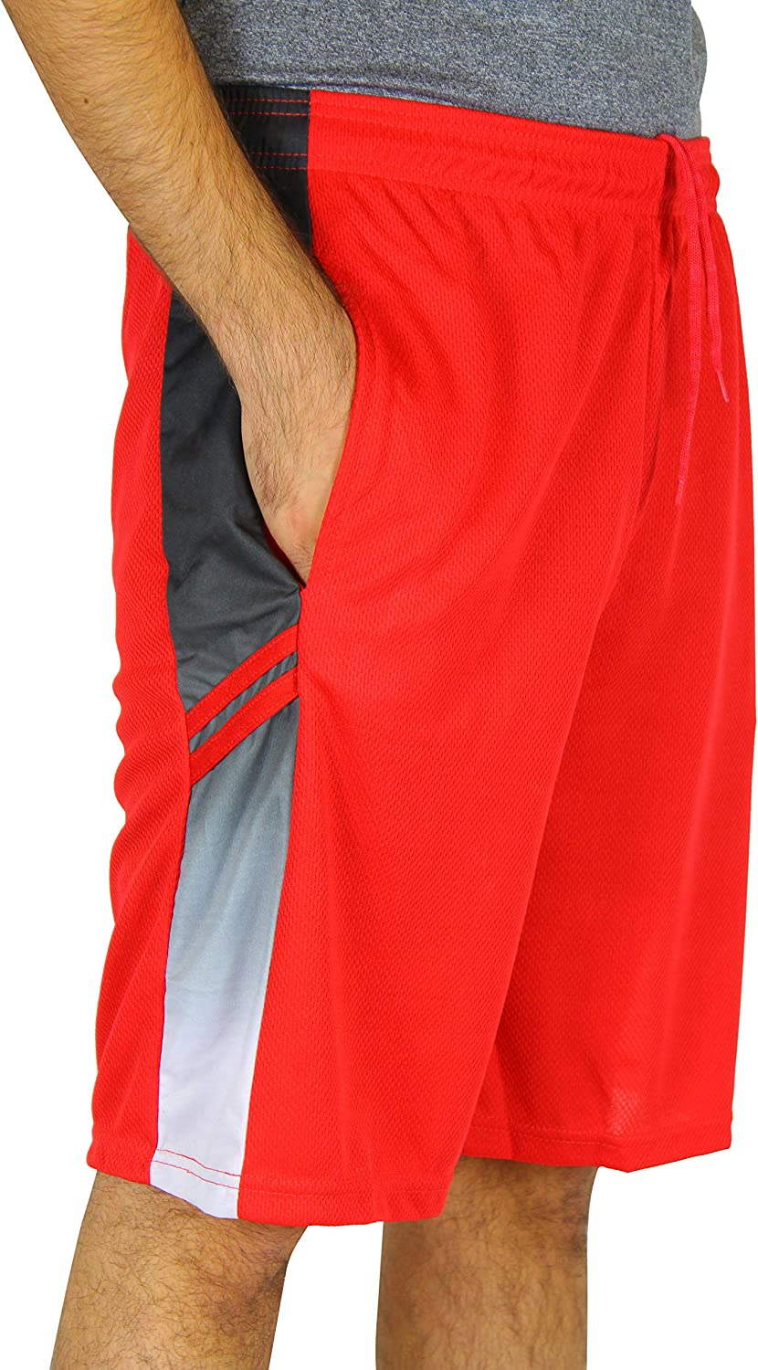 Real Essentials Mens Active Athletic Performance Shorts with Pockets - 5 Pack