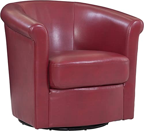 Grafton Home Madison Faux Leather Swivel Barrel Accent Chair