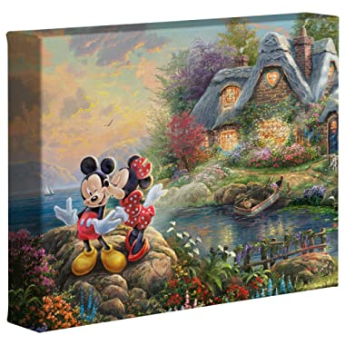Thomas Kinkade Studios Disney's Mickey and Minnie Sweetheart Cove 8 x 10 Gallery Wrapped Canvas