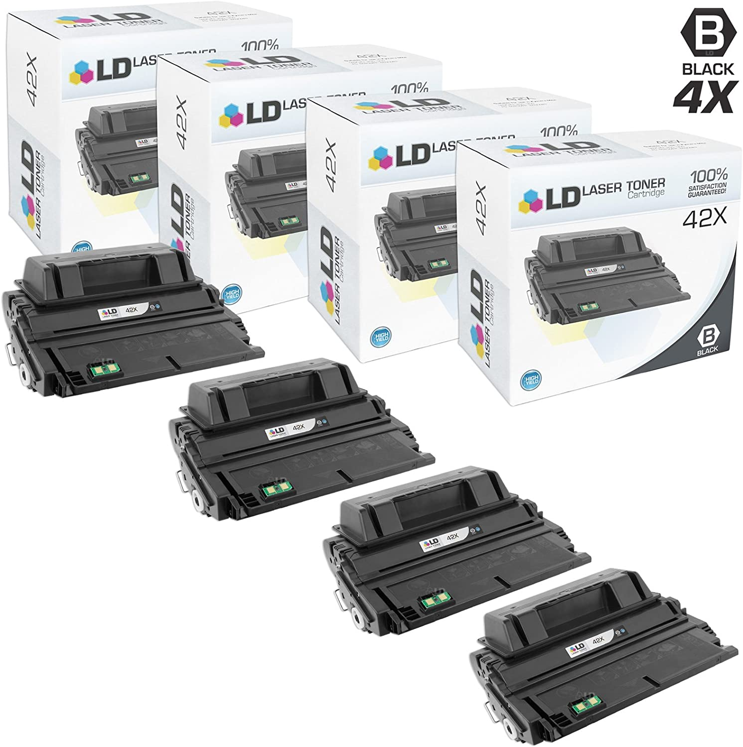 LD Compatible Toner Cartridge Replacement for HP 42X Q5942X High Yield (Black, 4-Pack)