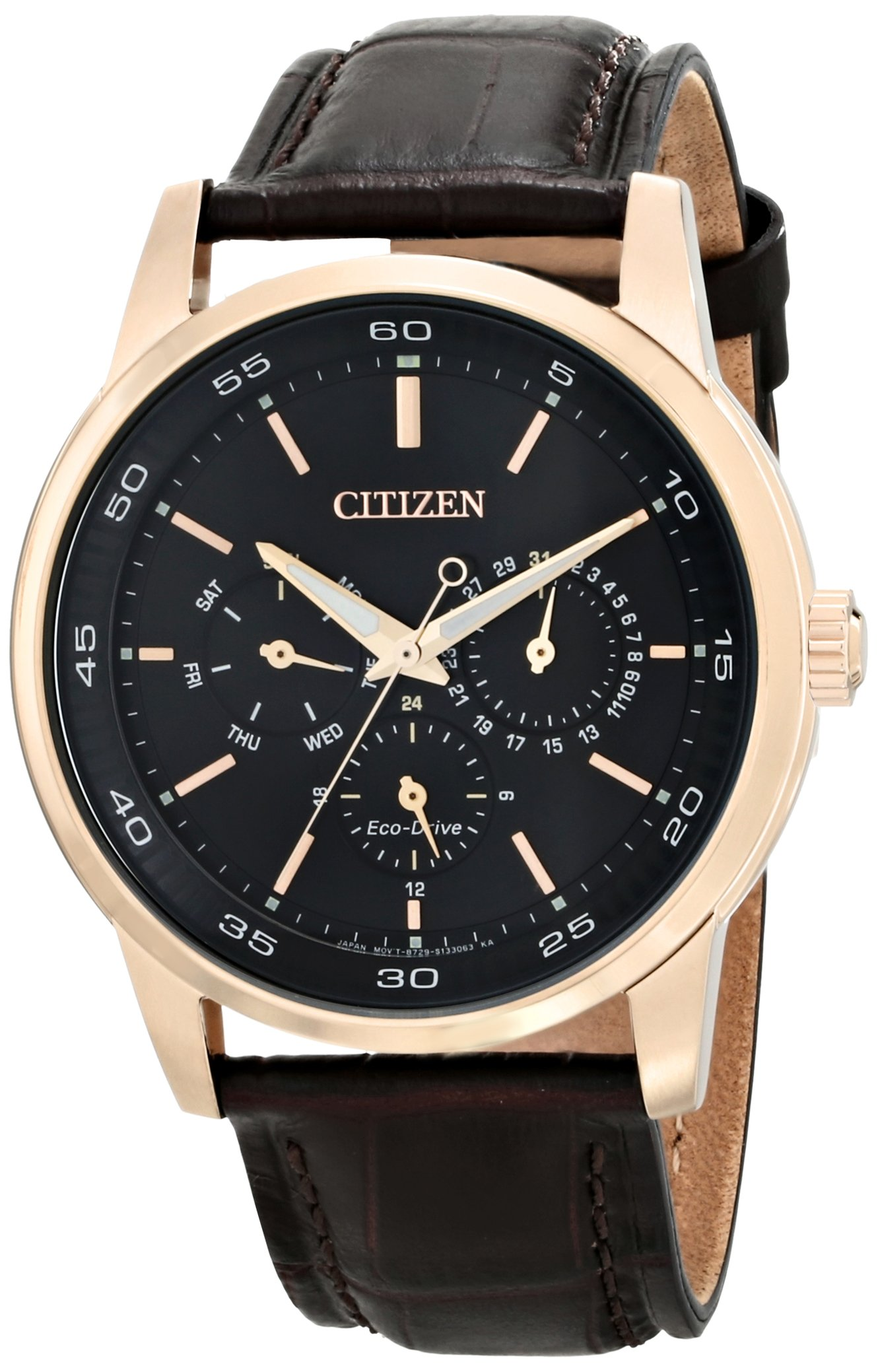 Citizen Men's BU2013-08E Eco-Drive Gold-Tone Watch with Brown Leather Band