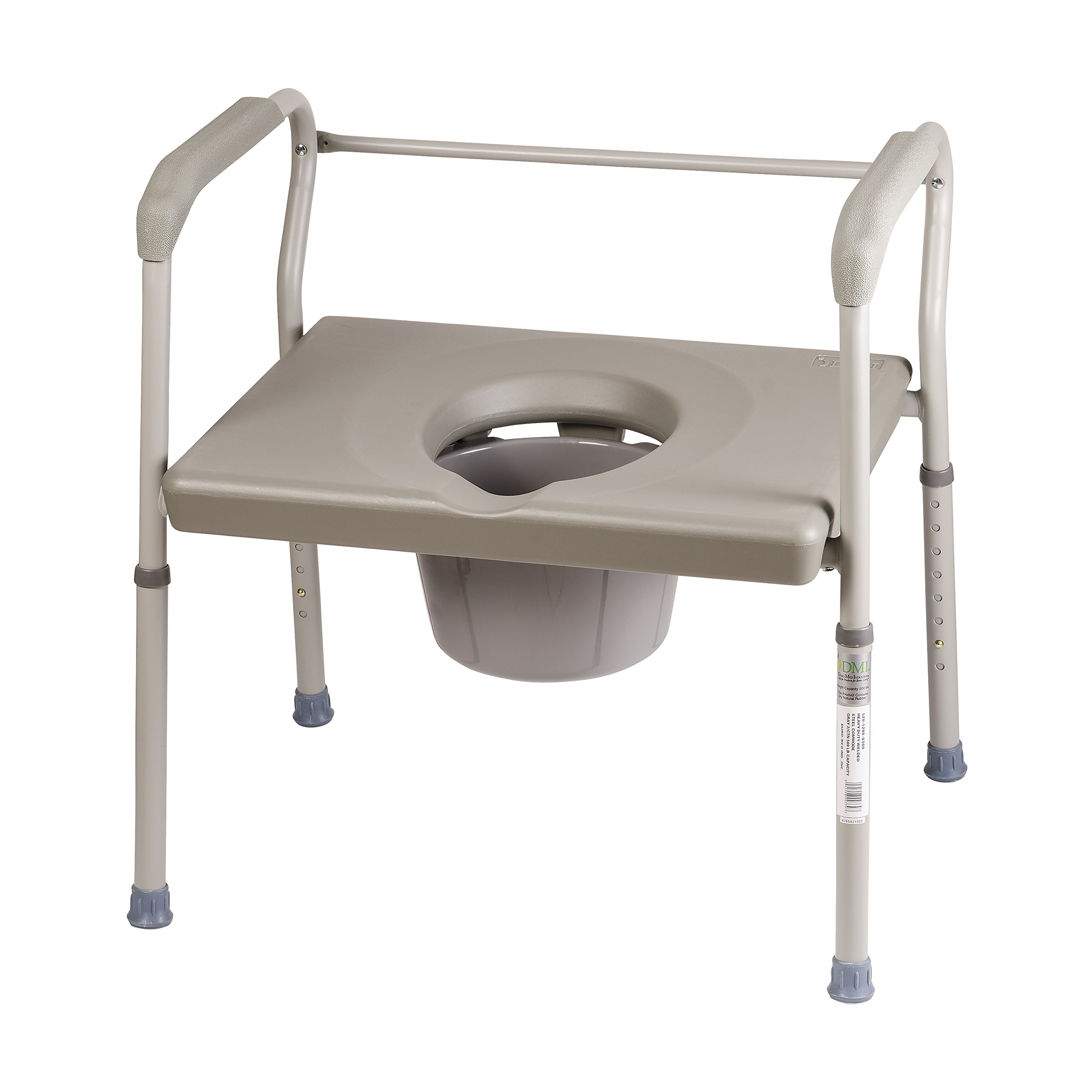 DMI Adjustable Bedside Commode for Adults Can Be Used with Included 7 Quart Pail or as a Toilet Riser and Toilet Safety Frame Easily Fitting Over Standard Toilet, 500lb Weight Capacity by Duro-Med