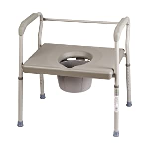 DMI Adjustable Bedside Commode for Adults Can Be Used with Included 7 Quart Pail or as a Toilet Riser and Toilet Safety Frame Easily Fitting Over Standard Toilet, 500lb Weight Capacity