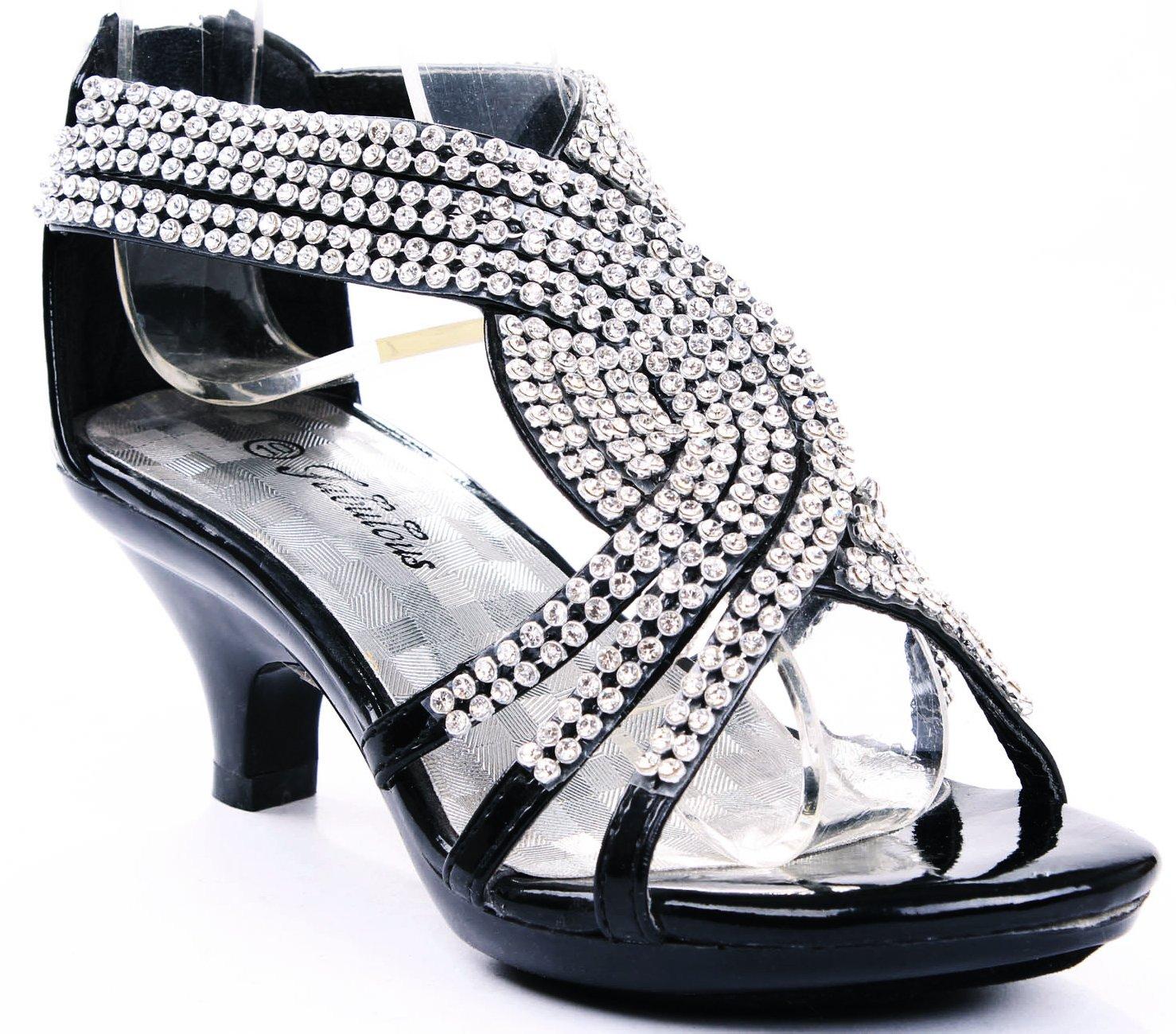 JJF Shoes Angel-37 Kids Black Little Girls Bling Rhinestone Platform Dress Heels Sandals-9