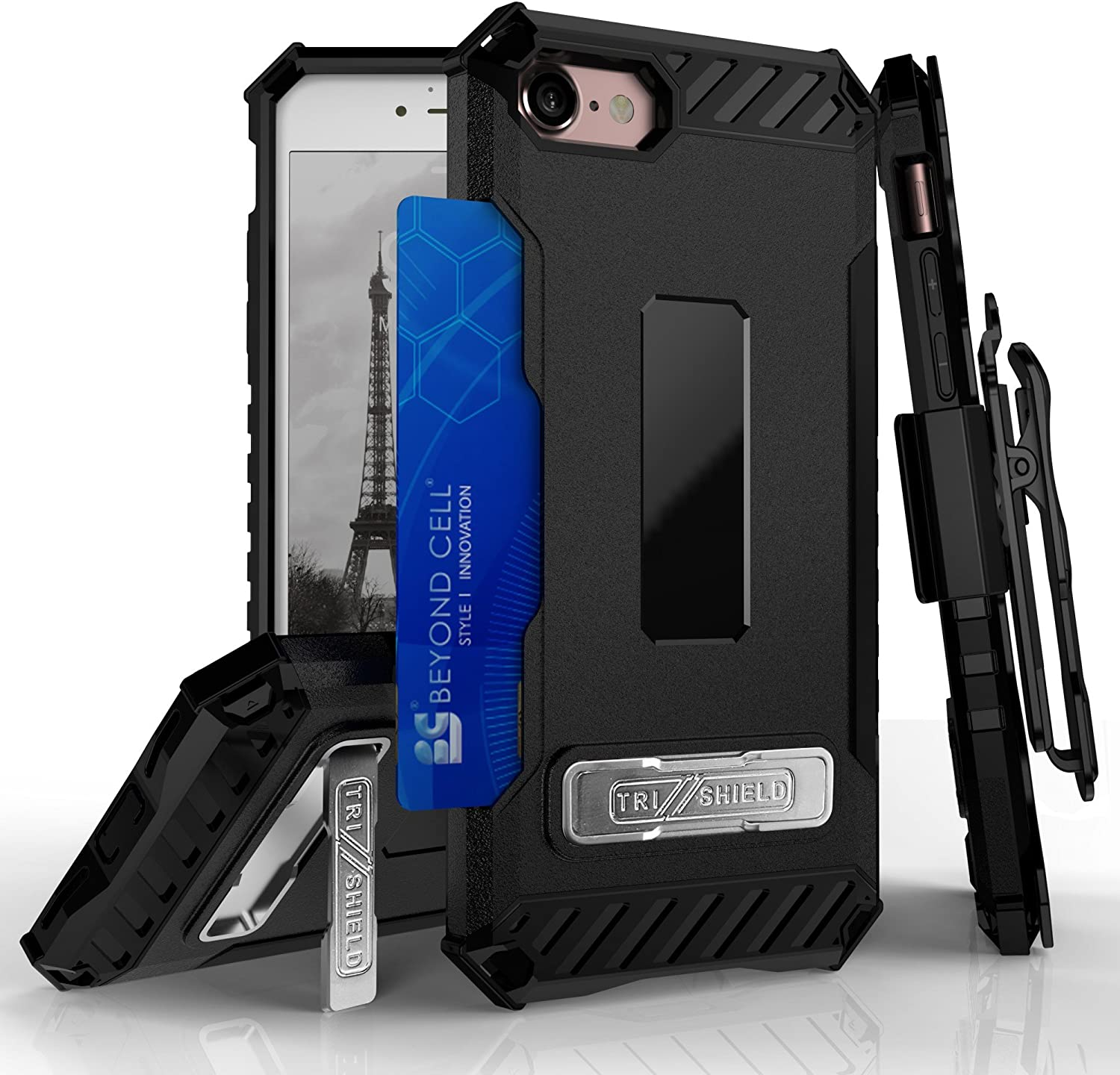 BEYOND CELL Tri-Shield Phone Case Compatible with iPhone 7 Case/iPhone 8 Case/iPhone SE (2020) 4.7 inch, Durable Rugged Phone Cover with Detachable Belt Clip Holster and Built in Kickstand