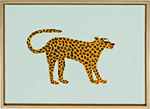 Kate and Laurel Sylvie Glam Cat Framed Canvas Wall Art by Bouffants and Broken Hearts, 18x24 Gold, Chic Animal Wall Decor