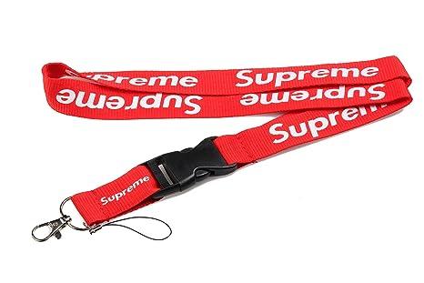 Supreme Lanière double face rouge style urbain branché Peut servir de porte-clés, de tour de cou et dattache pour téléphone portable et accessoires.