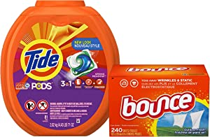 Tide PODS Spring Meadow Scent HE Turbo Laundry Detergent Pacs, 81 Count & Bounce Fabric Softener Sheets, Outdoor Fresh, 240 Count Bundle