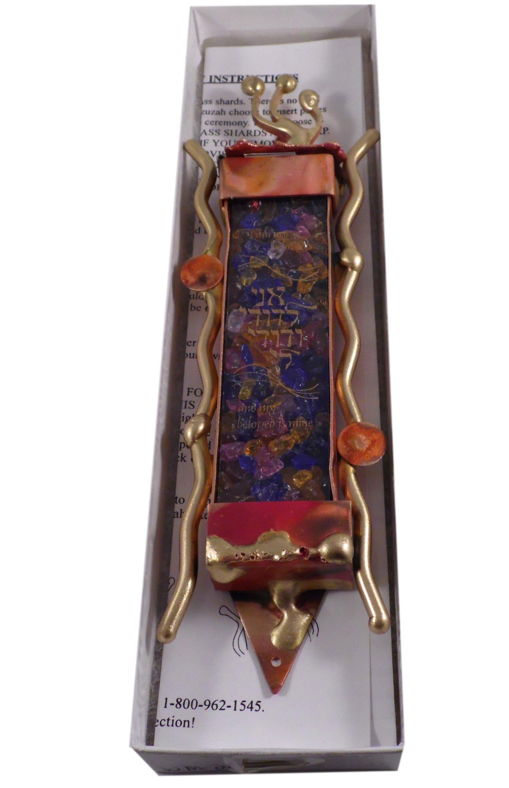 Gary Rosenthal Jewish Wedding Glass Mezuzah with Non Kosher Scroll Gift Boxed