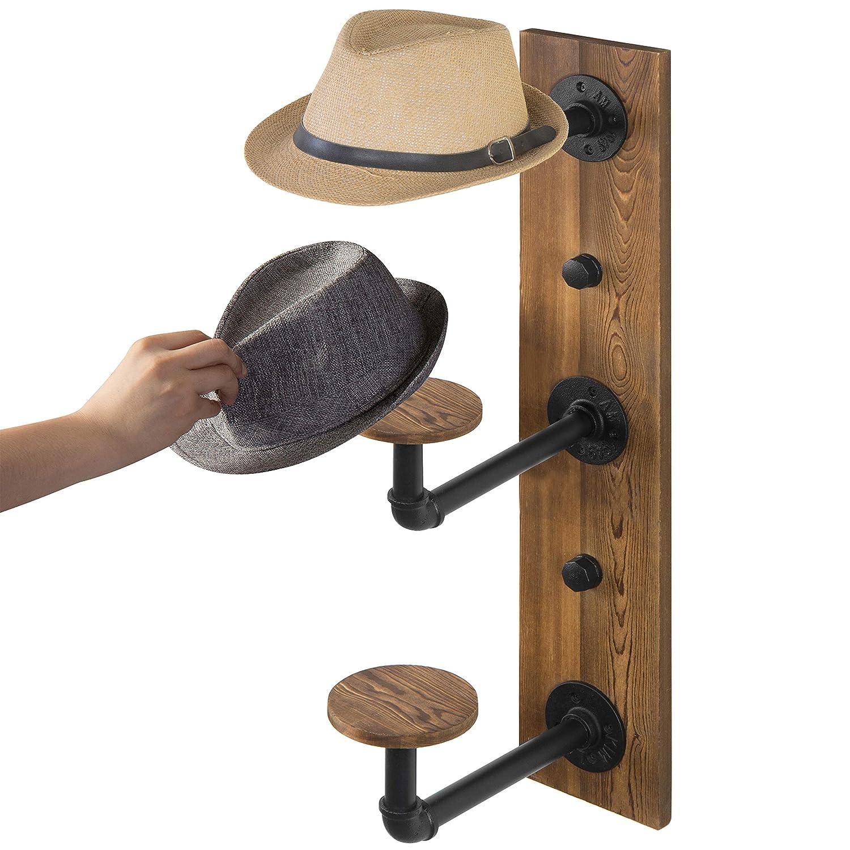 MyGift 3-Hook Industrial Metal Pipe /& Rustic Burnt Wood Hat Rack