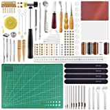 FEPITO 58 Pcs Leather Craft Tools Leather Working Tools Kit DIY Leather Sewing Tools for Leather Making Leather Craft DIY Too
