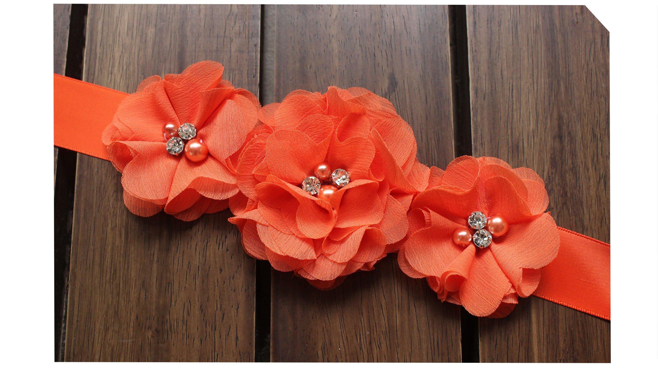 Bridesmaid and Flowergirls sashes wedding sash pearls flowers belts (Orange)