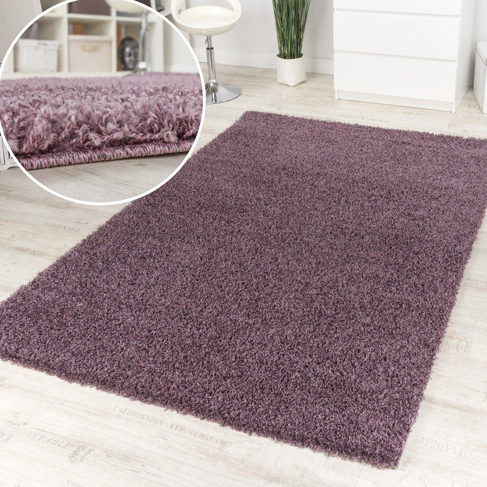 Paco Home Shaggy Purple Hochflor Langflor Teppich Lila Meliert Einfarbig Top Ausverkauf, Grösse 200x280 cm