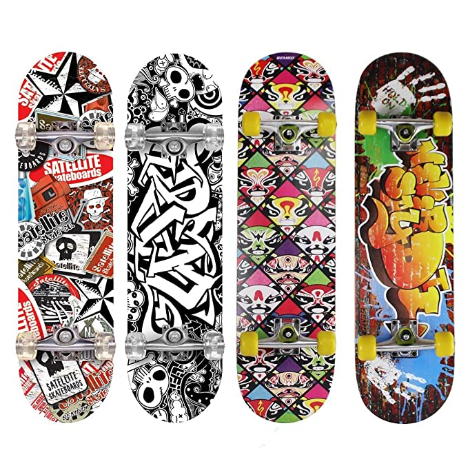 Gemgo 9 Plies Skateboard Deck, Adults Kids Skateboard,Complete Board with  ABEC-7 Bearing 9-Layer 80A Maple Deck Sturdy Skateboarding with Doodle