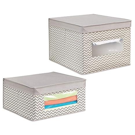mDesign Juego de 2 cajas de almacenamiento con diseño de zigzag – Cajas para organizar mantas