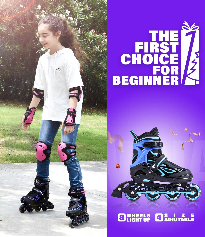 2PM SPORTS Vinal Girls Adjustable Inline Skates with Light up Wheels Beginner Skates Fun Illuminating Roller Skates for Kids Boys and Ladies/…