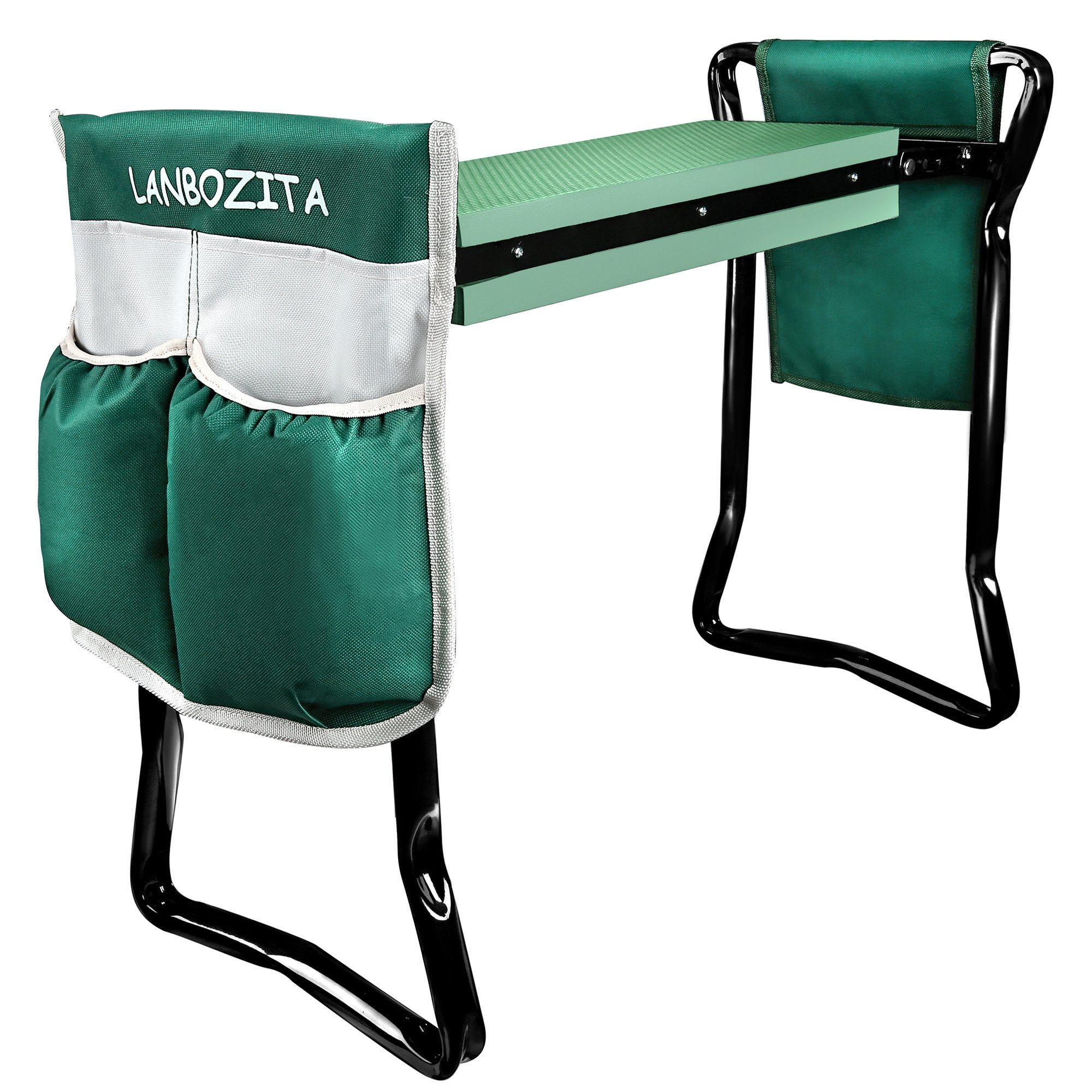 LANBOZITA Garden Seat Bench and Kneeler Foldable Stool With 2 Tool Pouches
