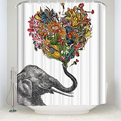 Happy Elephant Art In White Shower Curtain Custom Design Waterproof Polyester Fabric Bathroom Set For