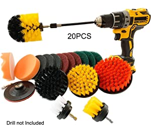 20piece Drill Brush Attachment Set - Power Scrubber Brush with Extend Long Attachment, Scrub pads All Purpose Cleaning for Grout, Tile, bathtub, Sink, Bathroom, Kitchen, Auto