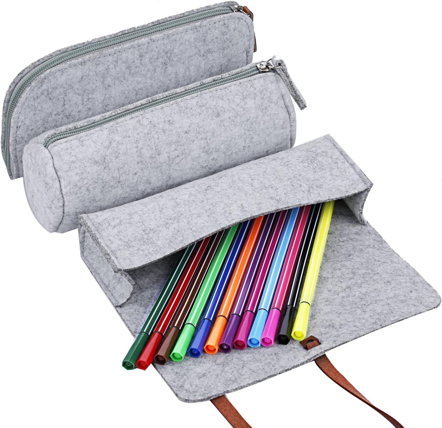 Gris Claire 2 COOFIT Trousse Scolaire// Sac Crayon 3 PCS Sac Trousse /école Trousse Scolaire Trousse Crayon//Stylo en Feutre en Laine Douce