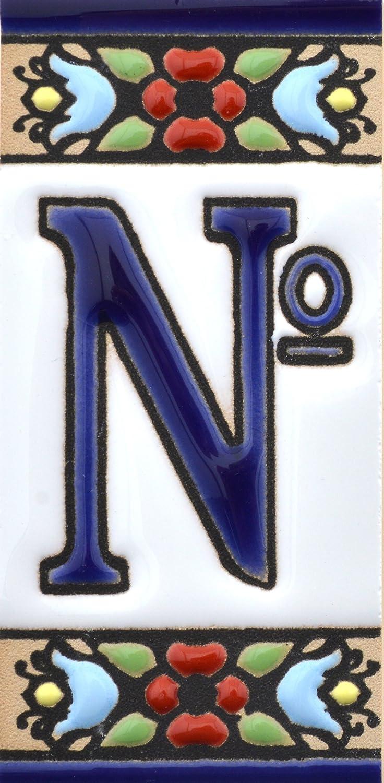Lettera H Nomi indirizzi e segnaletica ART ESCUDELLERS Insegna con Numeri e Lettere Fatte di Piastrelle Ceramica dipinte a Mano con la Tecnica cuerda seca Disegno Flores Mini 7,3 cm x 3,5 cm