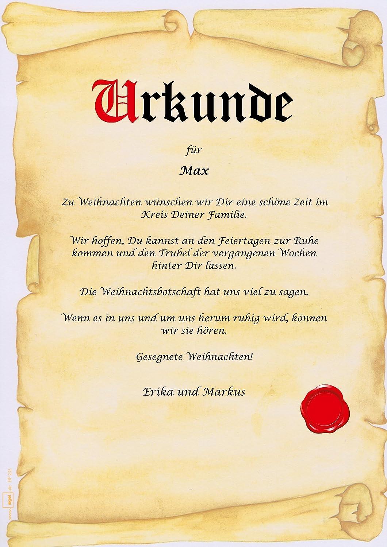 Urkunde personalisiert Geschenk Karte zu Heiligabend Weihnachten ...