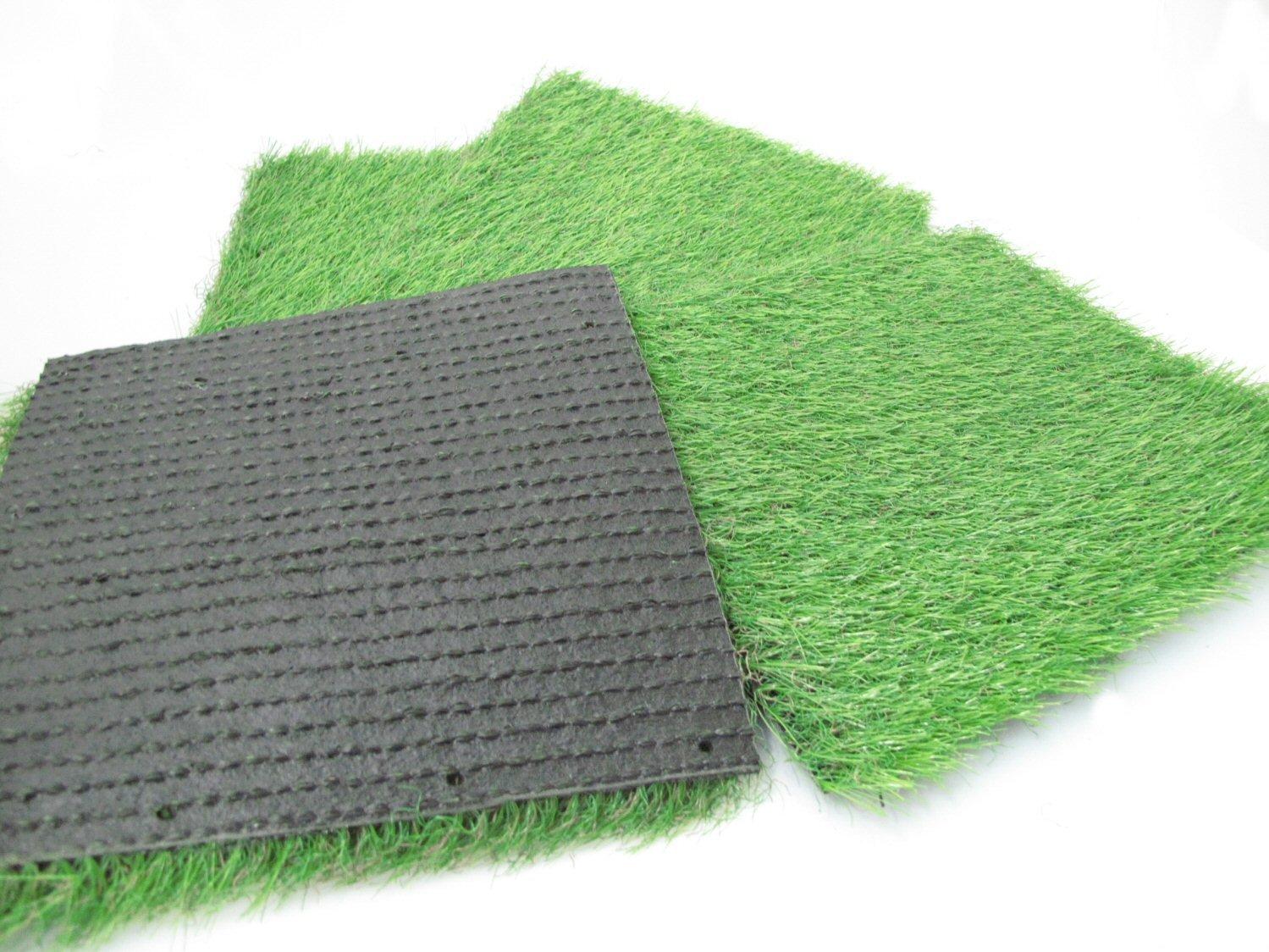 IKu /® 4er Pack Kunststoff Gras Rasenmatten 25x25 cm Unterseite geriffelt Kunstrasen Rasen