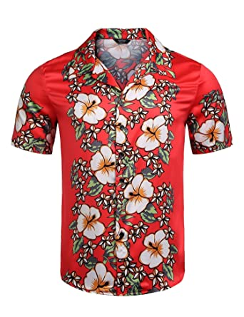 fe0ae7be COOFANDY Men's Tropical Floral Short Sleeve Hawaiian Shirt Casual Button  Down Aloha Party Holiday