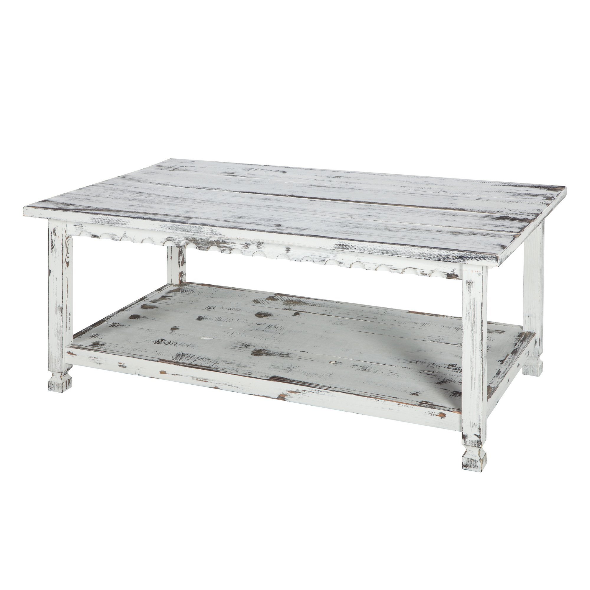 - Rustic Rectangluar Coffee Table With 1 Shelf, White Antique - Buy