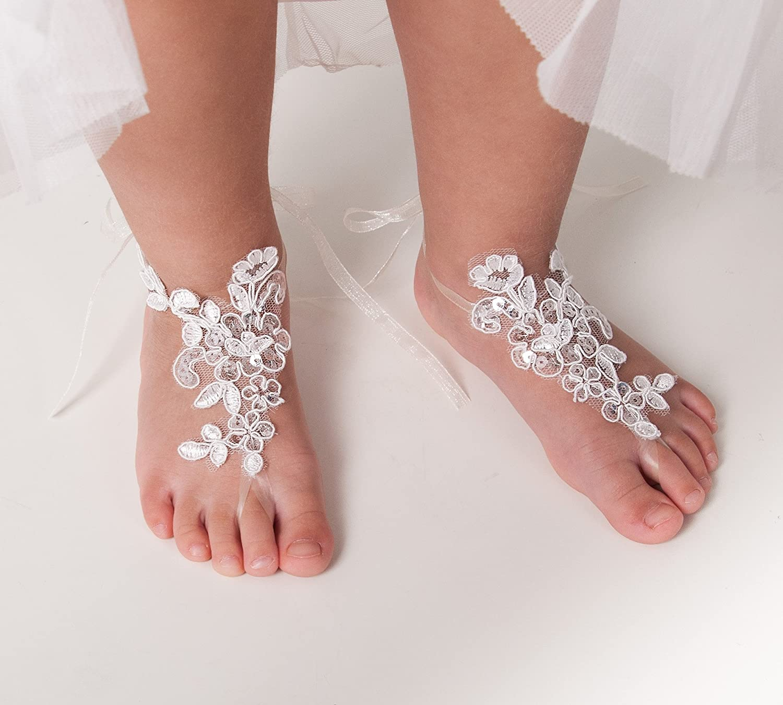 e1b6c42657437 Amazon.com: Baby Lace Sequins Barefoot Sandals, Flower girl ...