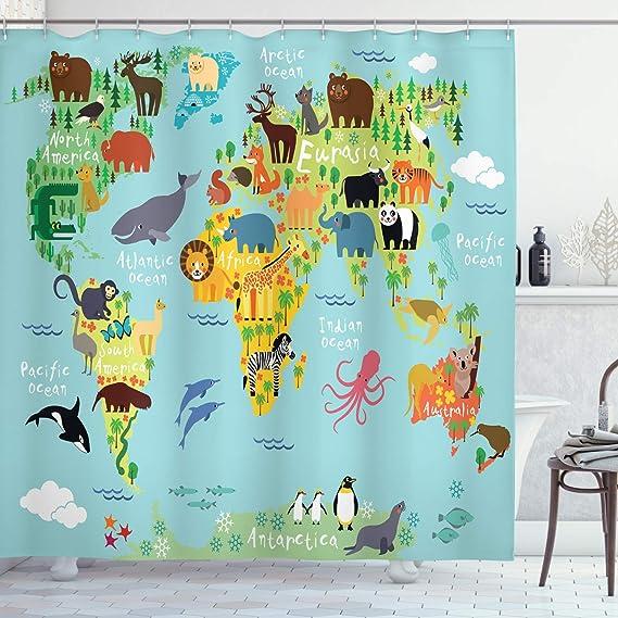 Wanderlust Shower Curtain, Animal Map of The World