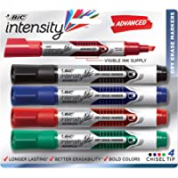 BIC Intensity Advanced Whiteboard Markers, Dry Erase Chisel Tip – Bulk Pack of 4 – Low Odour, Non Toxic, Soft Grip - Assorted Colours
