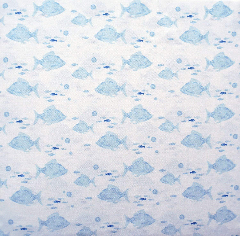 海洋魚 夏 海岸コレクション 寝具 コットン キング シーツセット ライトブルー 白魚 学校 水泳 B07NXXZFJL