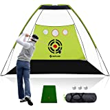 SAPLIZE Golf Practice Net with Hitting Mat, High Impact Net, 10x7ft Large Size with Chipping Practice Holes, Golf Hitting net