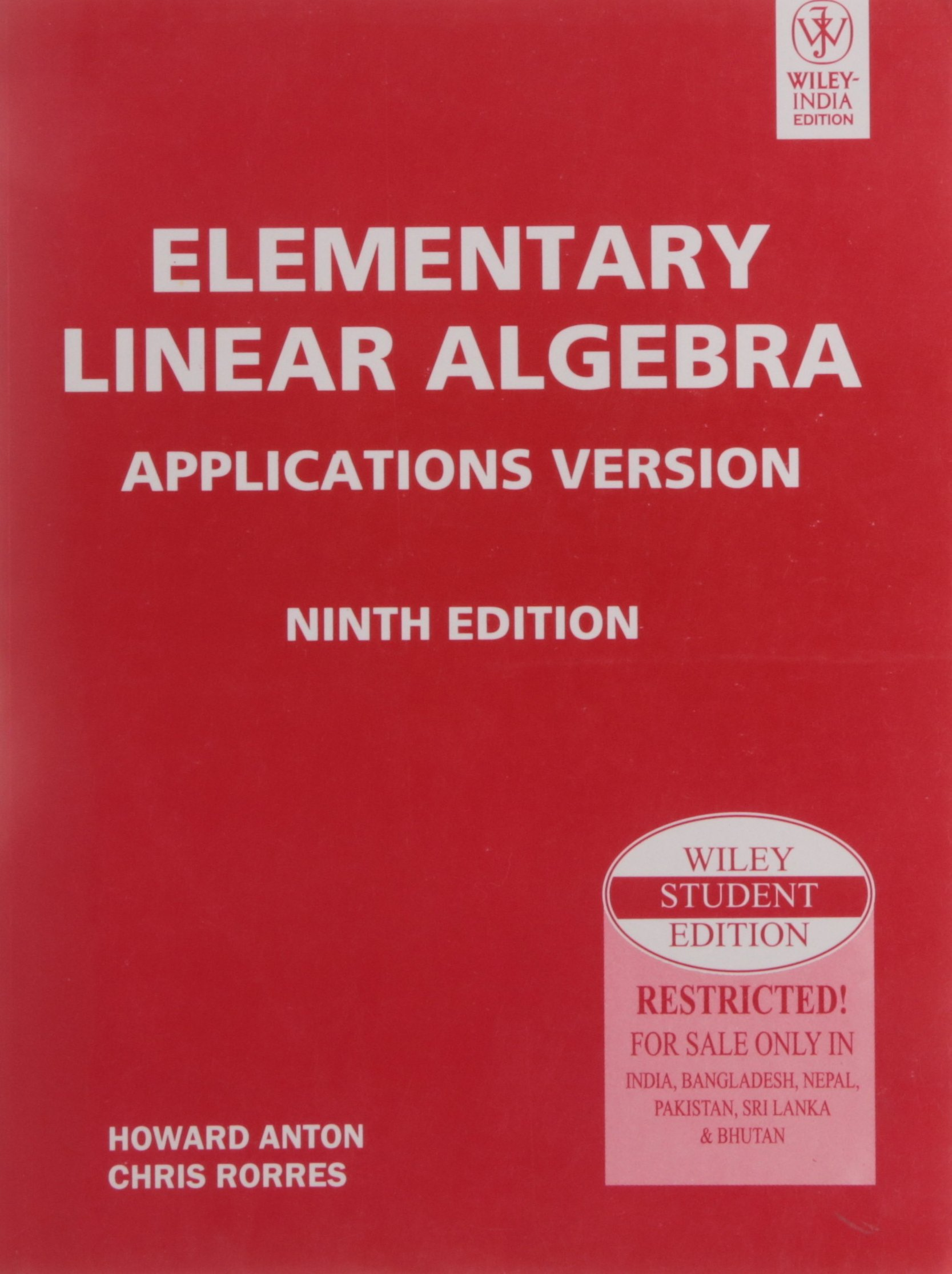 Elementary Linear Algebra Applications Version, 9Th Ed: Howard Anton:  9788126518692: Amazon.com: Books