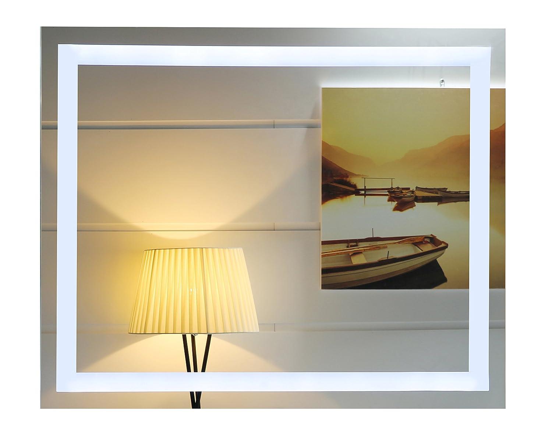 LED-Beleuchtung Badspiegel GS099N Lichtspiegel Wandspiegel Badezimmerspiegel Tageslichtweiß IP44 (80 x 60 cm)