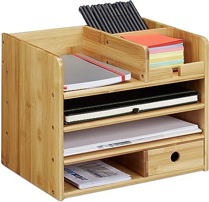 per A4 1 pz 30x28x26,5 cm Naturale 3 Scomparti Organizer da Ufficio /& Scrivania Relaxdays Porta Documenti in bamb/ù