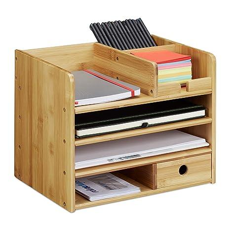 Relaxdays Schreibtisch Organizer Briefablage A4 Notizzettel Und Stifte Ordnen Schublade Ordnungssystem Buro Bambus H X B X T Ca 26 X 33 X 24