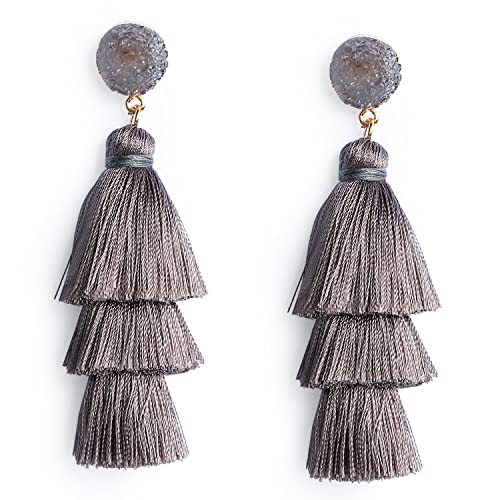 d09b20152a5539 Women's Grey Layered Tassel Earrings Dangle Bohemian Long Fringe Earring  Statement Fashion Tassel Drop Earrings